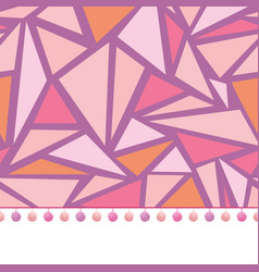 Pompom border trim on pink triangles mosaic vector