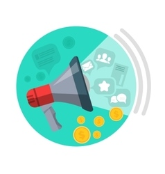 Seo loud speaker web button business marketing vector