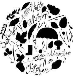 Set of autumn items black and white silhouettes vector image