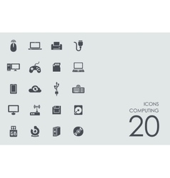Set of computing icons vector