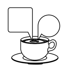 Silhouette set porcelain cup coffee with dialogue vector