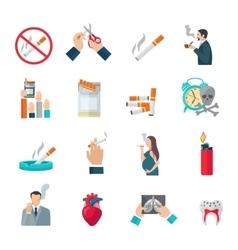 Smoking flat icons set vector
