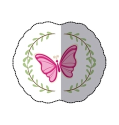 Sticker arch of leaves with pink butterfly vector