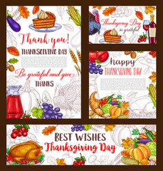 Thanksgiving day sketch banner or posters vector