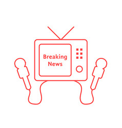 Thin line breaking news with red tv icon vector