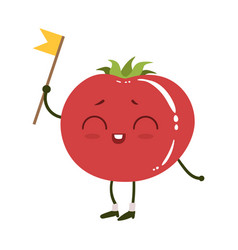 Tomato cute anime humanized smiling cartoon vector