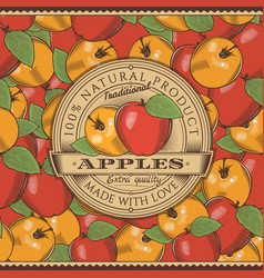 vintage red apple label on seamless pattern vector image vector image