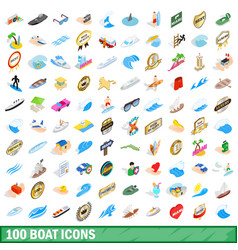 100 boat icons set isometric 3d style vector