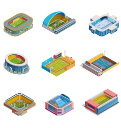 Isometric images stadiums set vector