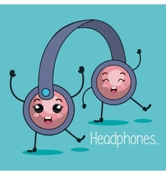 Headphone character kawaii style vector