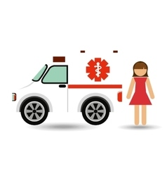 Character ambulance vehicle design vector