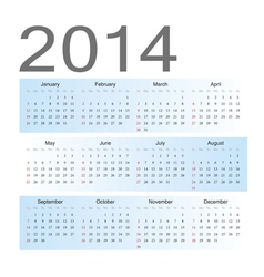 Simple blue european 2014 calendar vector
