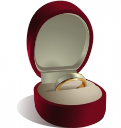 Wedding ring in box vector