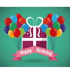 Ed balloons decorative card happy birthday green vector