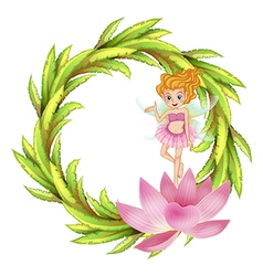 A round border design with a fairy in a pink dress vector image
