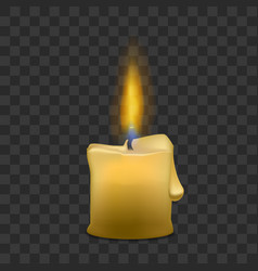 Little candle with fire set on transparent vector