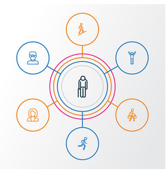 Person outline icons set collection of pulling vector