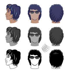man hairstyles set for curly hair vector image