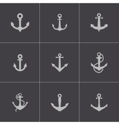 black anchor icons set vector image
