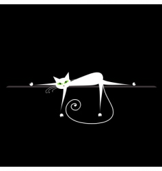 Relax white cat on black for your design vector