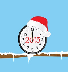 New year clock with red hat on a twig color vector