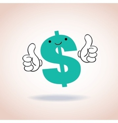 Dollar sign thumbs up mascot cartoon character vector