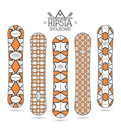 Hipster print for snowboard vector