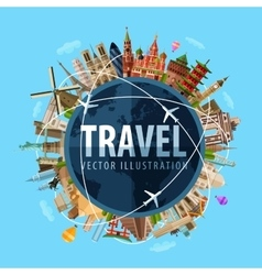 Travel journey logo design template world vector