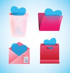 Saint valentine icons set vector
