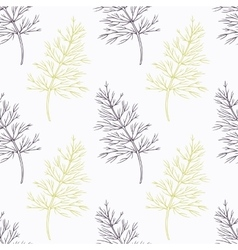 Hand drawn dill branch stylized black and green vector