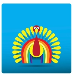 Multi-colored turkey-cock in the form of a rainbow vector