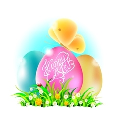 Eggs in grass with happy easter words vector