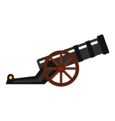 Ancient cannon icon flat style vector