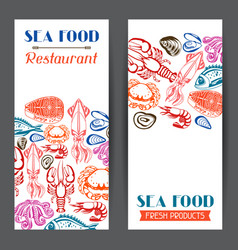 banners with various seafood of fish vector image