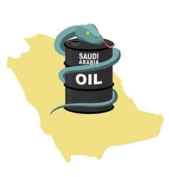 Barrel oil in saudi arabia map background snake vector
