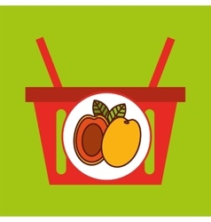 basket shopping apricot tasty fruit vector image vector image