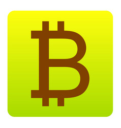 bitcoin sign brown icon at green-yellow vector image vector image