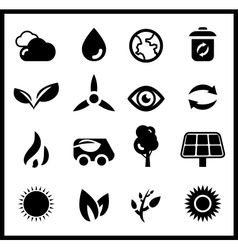 Black ecology icons icon set vector image vector image
