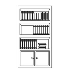 bookshelf furniture office outline vector image