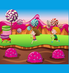 Boy and girl in candy land vector