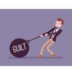 Businessman dragging a weight guilt on chain vector