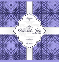 card with vintage purple geometric pattern vector image