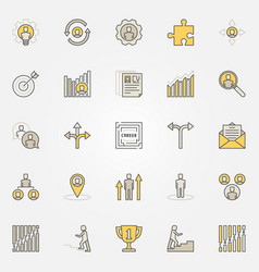 career colorful icons set vector image