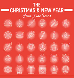 christmas line icon set new year signs vector image vector image