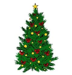 Christmas tree sketch vector image vector image