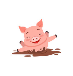 cute happy pig bathing in a dirty pool funny vector image vector image