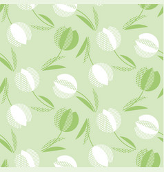 Decorative green color tulip flower seamless vector