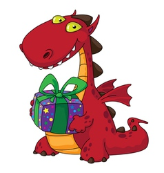 dragon and a gift vector image