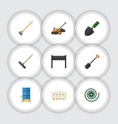Flat icon dacha set of barbecue lawn mower tool vector