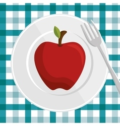 Fresh apple over plate and fork with checkered vector